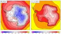 Средние зимние (слева) и летние (справа) температуры в Антарктиде. (Откроется в новом окне)