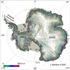 Потери льда Антарктидой в 2006 году